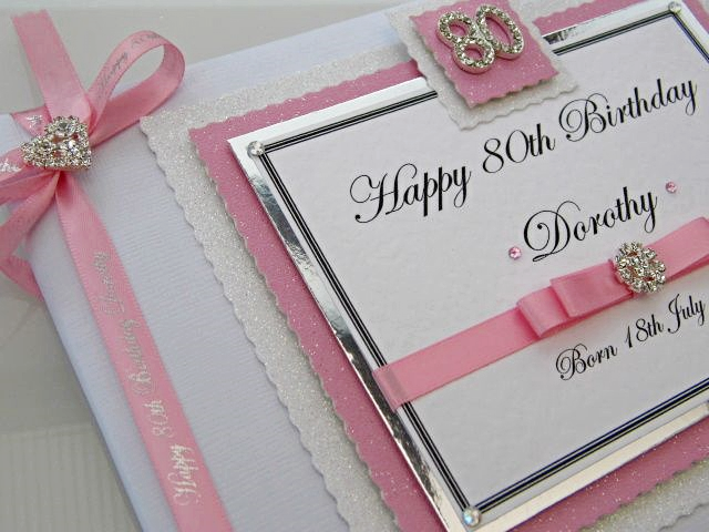 Personalised Pink 80th Birthday Guest Book