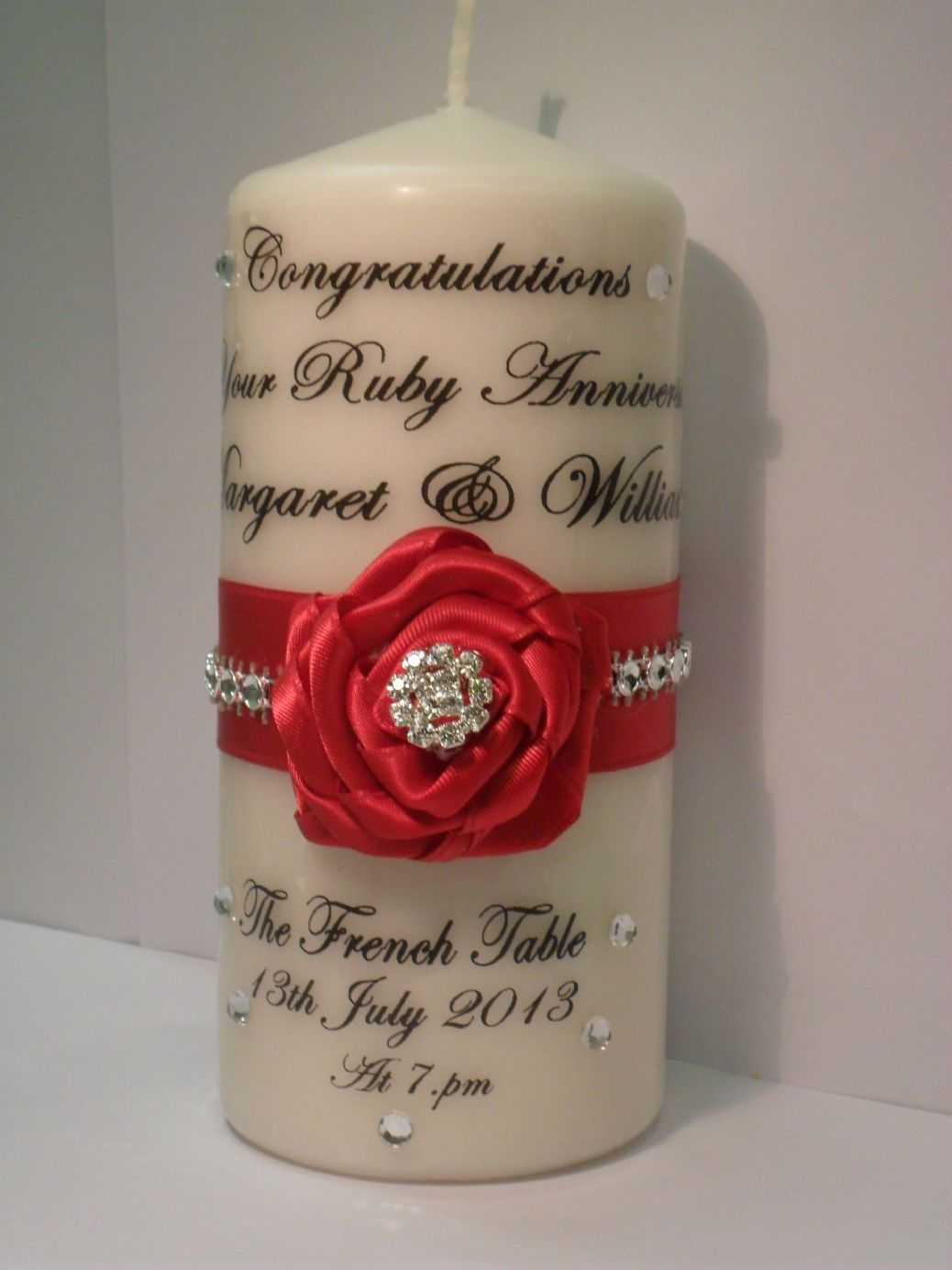 Ruby Wedding Gift Ideas Uk : Personalised Ruby Anniversary Candle gift