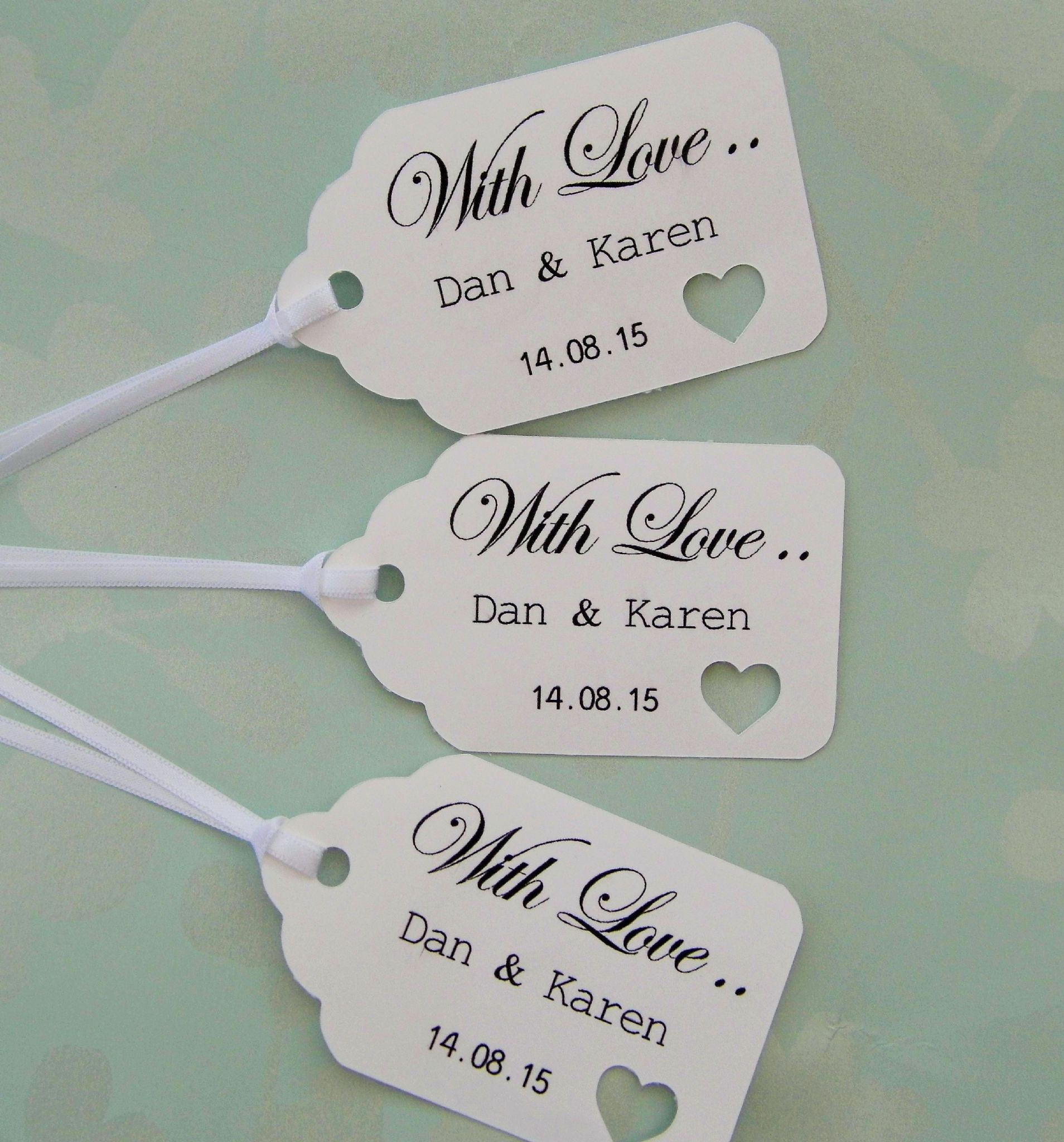 Personalised wedding gift tags negle