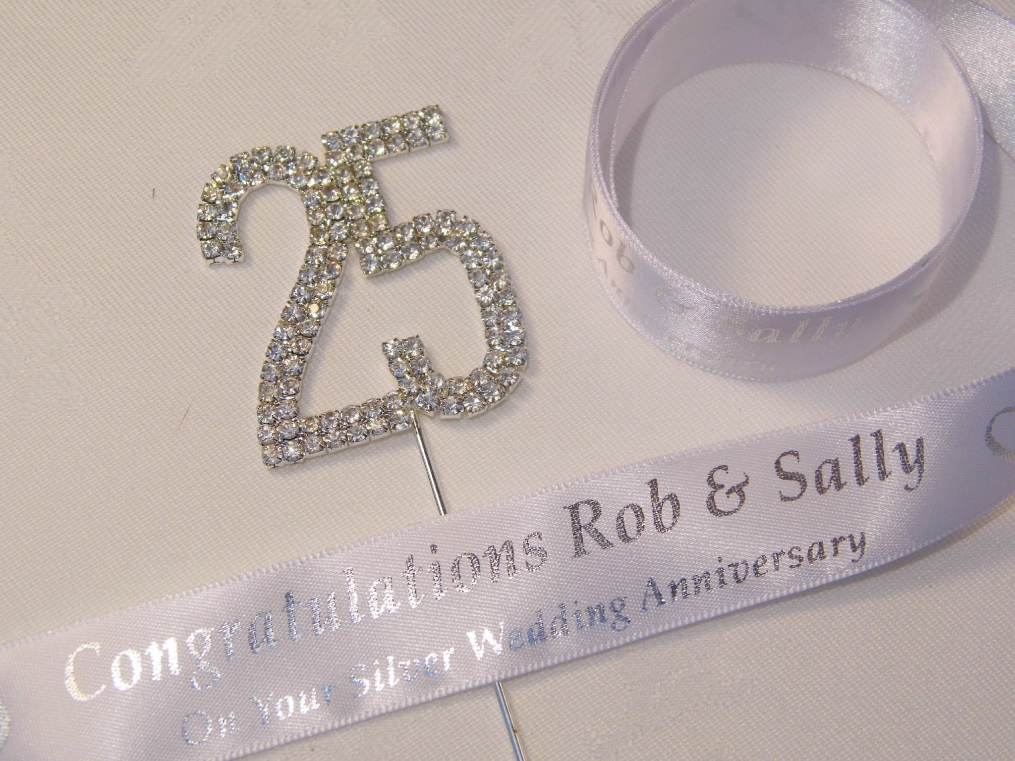 Silver Wedding Anniversary Cake Topper Amp Ribbon