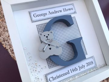 Personalised Framed Initial Boy//Girl Baby First 1st Birthday Handmade Gift