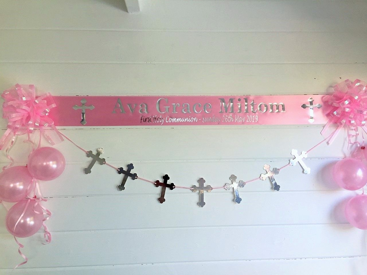 Personalised 1st Holy Communion Decorations Pink