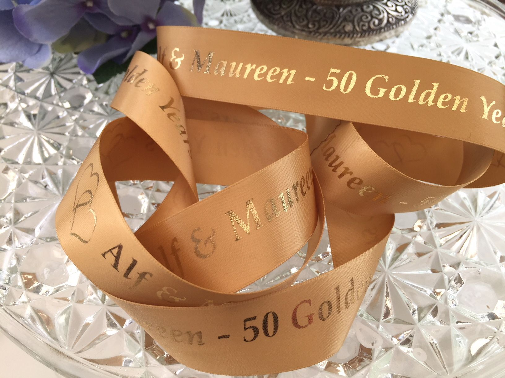 personalised golden wedding anniversary gift ribbon. Black Bedroom Furniture Sets. Home Design Ideas