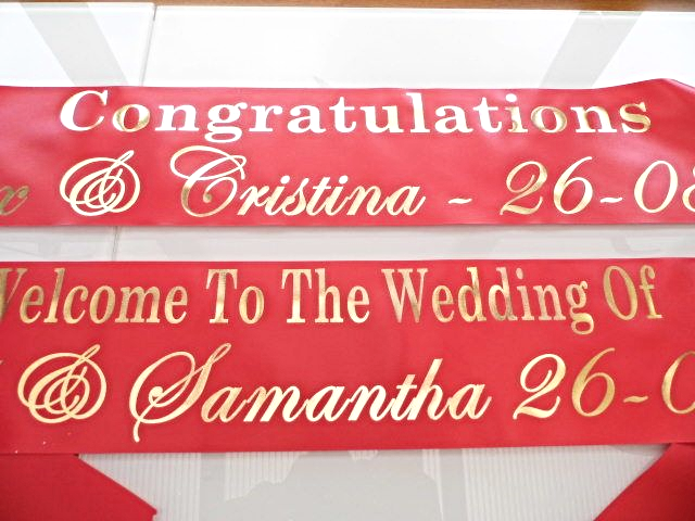 Personalised Wedding Banner - Red & Gold