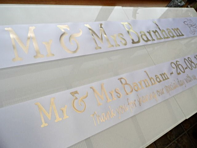 Personalised Wedding Banner - White & Gold